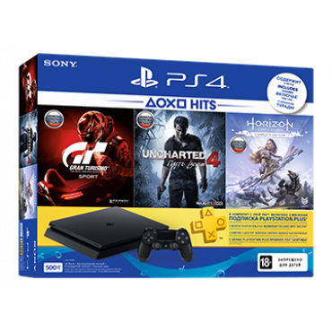 PS719395171 PlayStation 4 500GB GT Sport, Uncharted 4, Horizon Zero Down, PlayStation Plus 3M