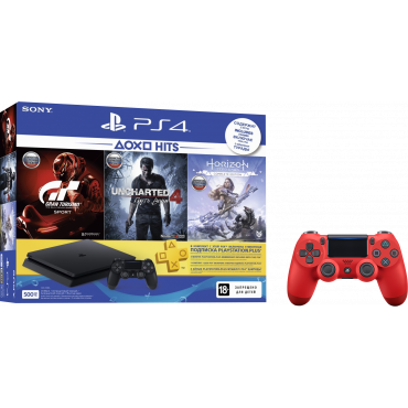 PS719395171 PlayStation 4 500GB GT Sport, Uncharted 4, Horizon Zero Down, PlayStation Plus 3M и Dualshock 4 V2