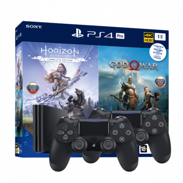 PlayStation 4 Pro (1 ТБ) в комплекте с играми: God of War, Horizon: Zero Dawn + Dualshock 4