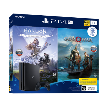 PlayStation 4 Pro (1 ТБ) в комплекте с играми: God of War, Horizon: Zero Dawn